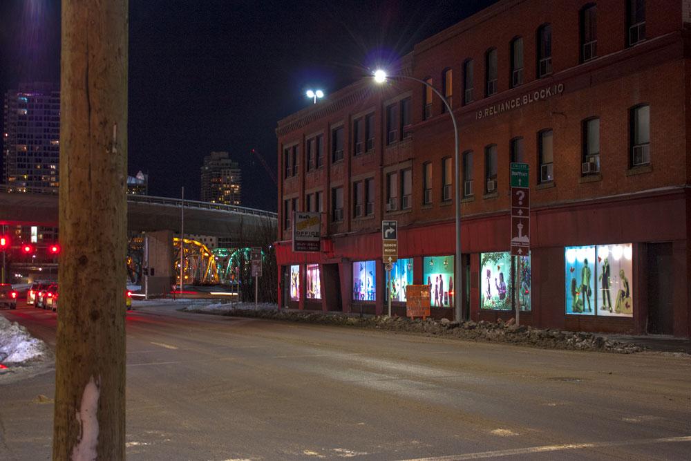 Calgary Armour Block Green Bridge With Post Window Art