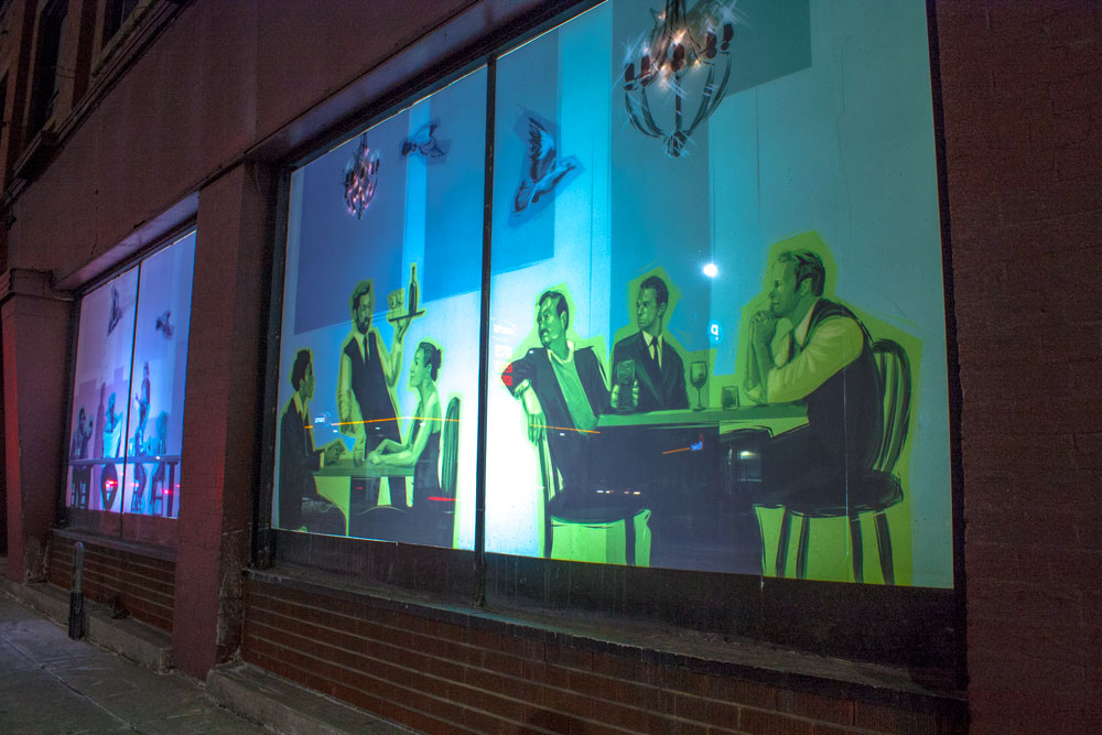 Calgary Armour Block Night Close Up Window Art