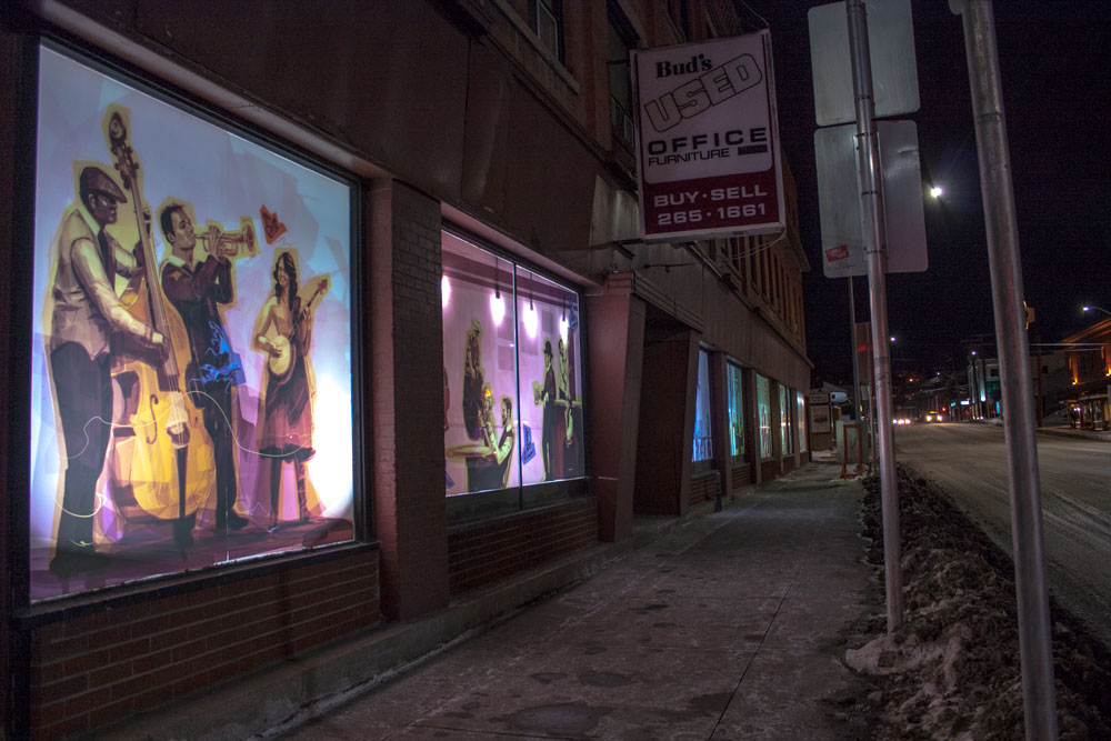 Calgary Armour Block Night Long Shot Window Art