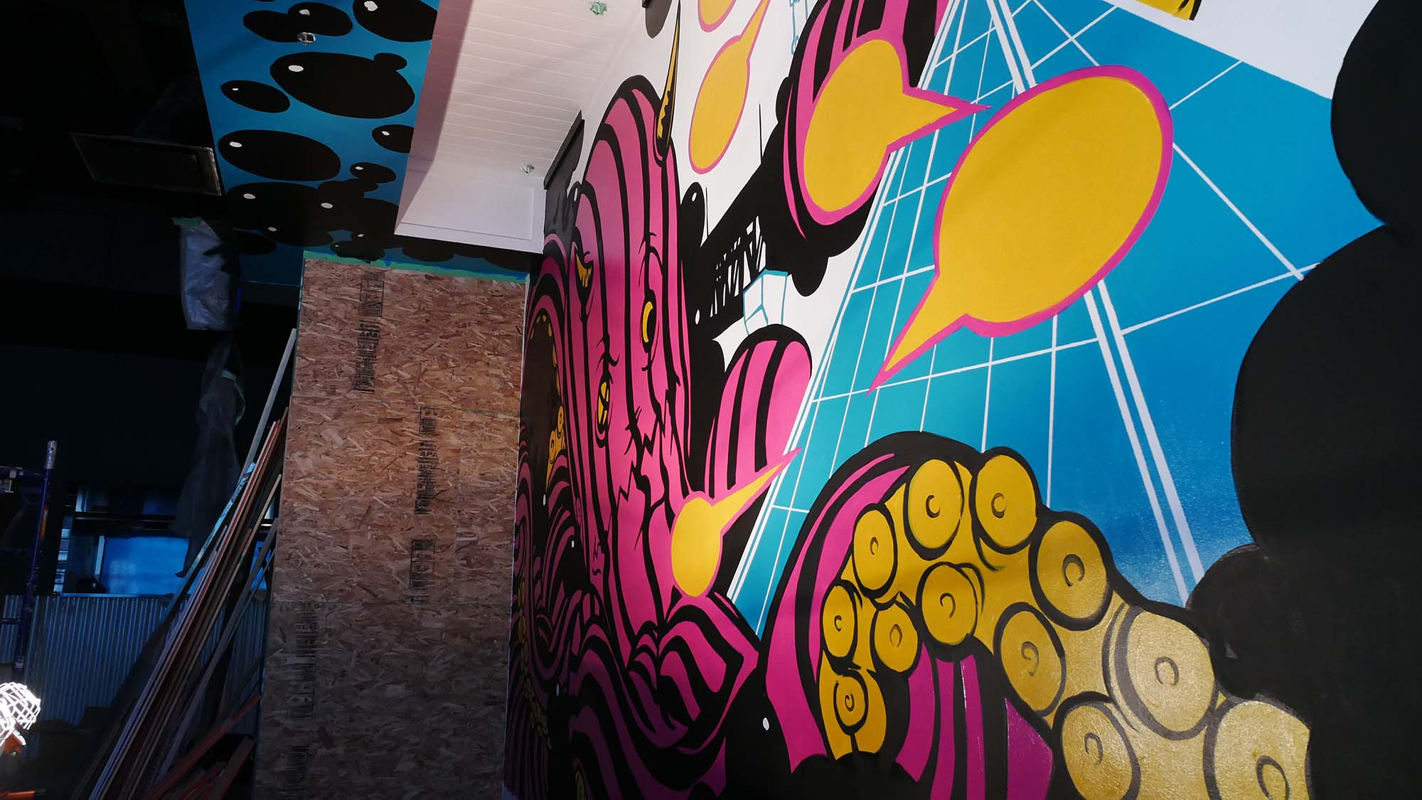 ReGrub Interior Mural - Octopus Takes Over Edmonton Detail