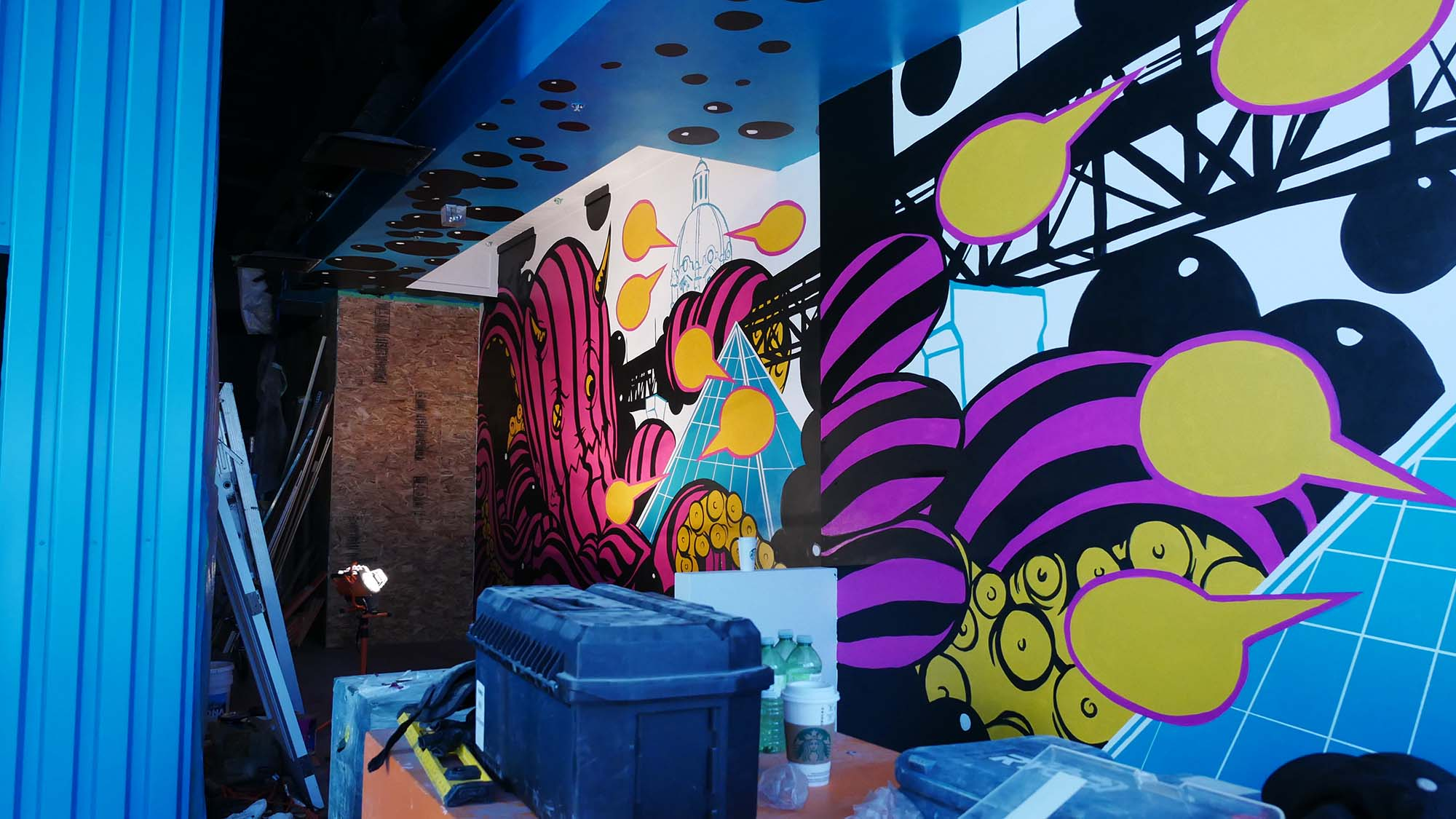 ReGrub Interior Mural - Octopus Takes Over Edmonton