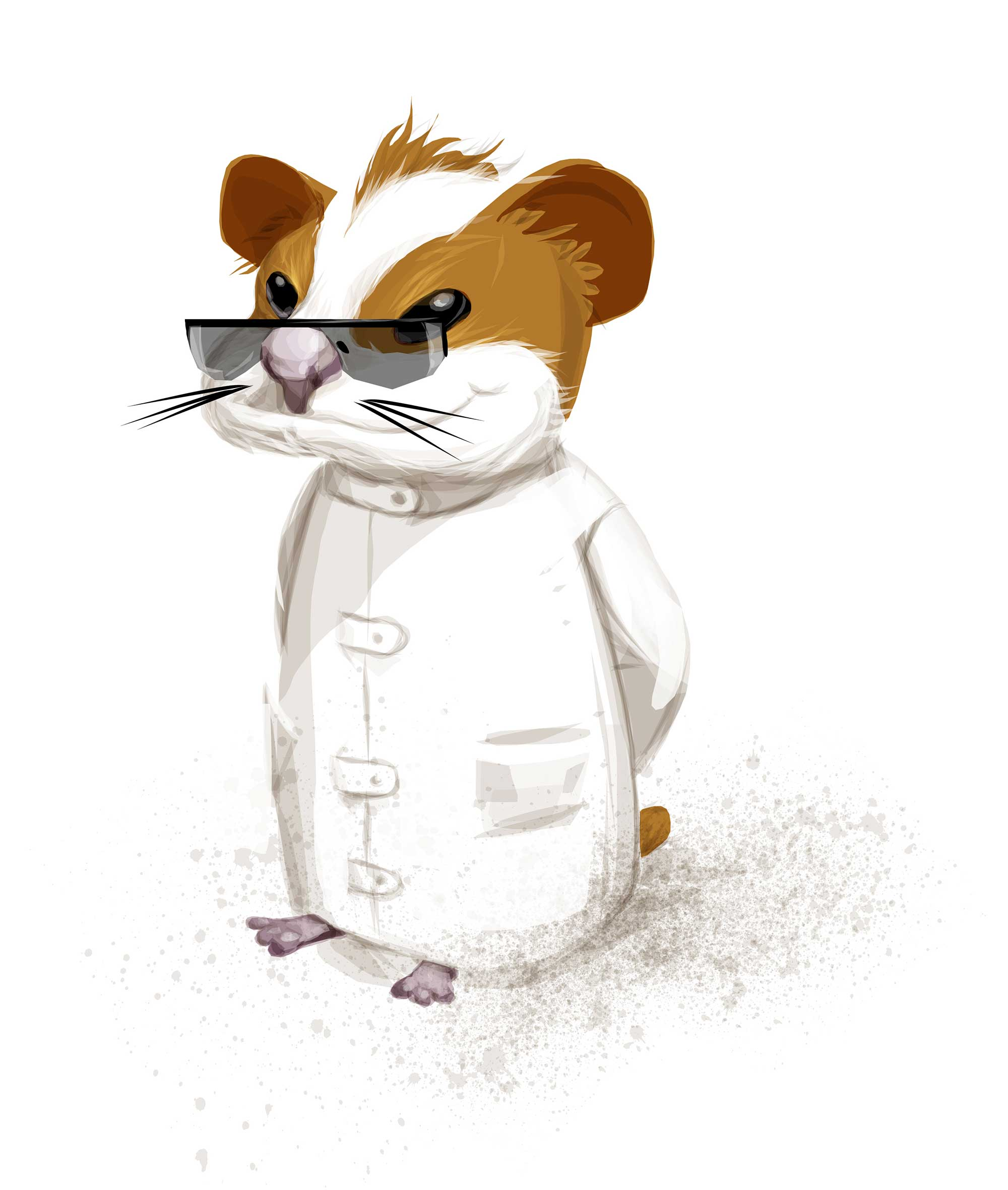 Wits and Warfare Geek Hamster Intelligence Concept Character